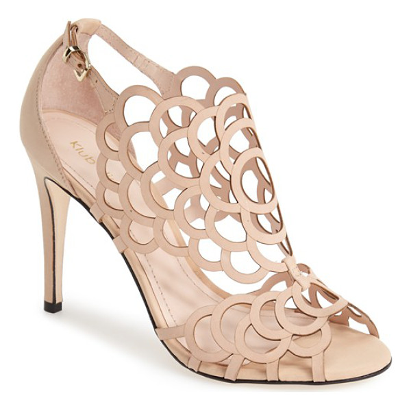 KLUB NICO 'millie' cutout sandal - Delicate laser-cut perforations dance across the shimmering