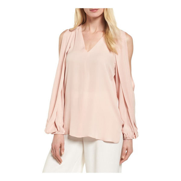 KOBI HALPERIN caroline cold shoulder silk blouse - Draped and slit from shoulder to elbow, the billowy long...