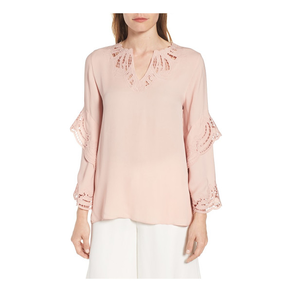 KOBI HALPERIN lia embroidered silk blouse - Eyelet embroidery highlights the notched neck and flouncy,...