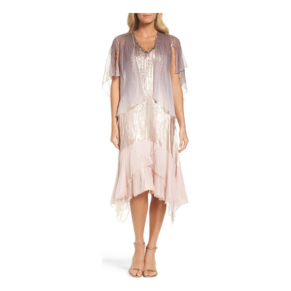 KOMAROV embellished dress & capelet - A fluttery chiffon capelet completes the romantic look of a...