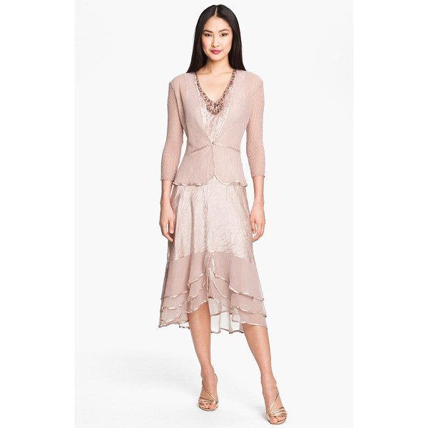 KOMAROV pleated satin & chiffon dress with jacket - Clear faceted beads adorn the V-neckline of a sleeveless...
