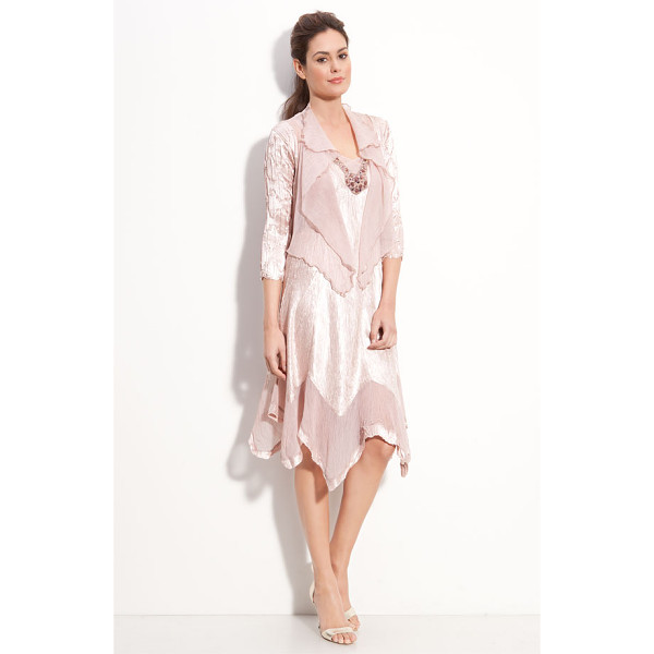 KOMAROV beaded pleated charmeuse dress & jacket - Lustrous, beautifully pleated dress is detailed with sheer...