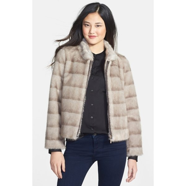KRISTEN BLAKE faux mink jacket - Ombre-striped patterning brings the lush look of mink to a...