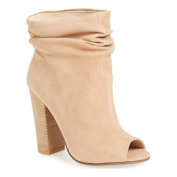 KRISTIN CAVALLARI 'laurel' peep toe bootie - Gentle ruching gives a stylishly slouchy look to an