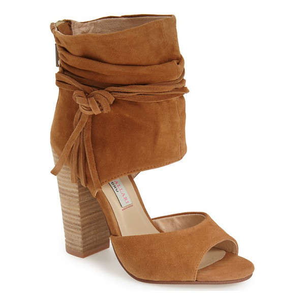 KRISTIN CAVALLARI 'leigh 2' ankle cuff sandal - Wraparound ties knotted at one side accent the ruched ankle...