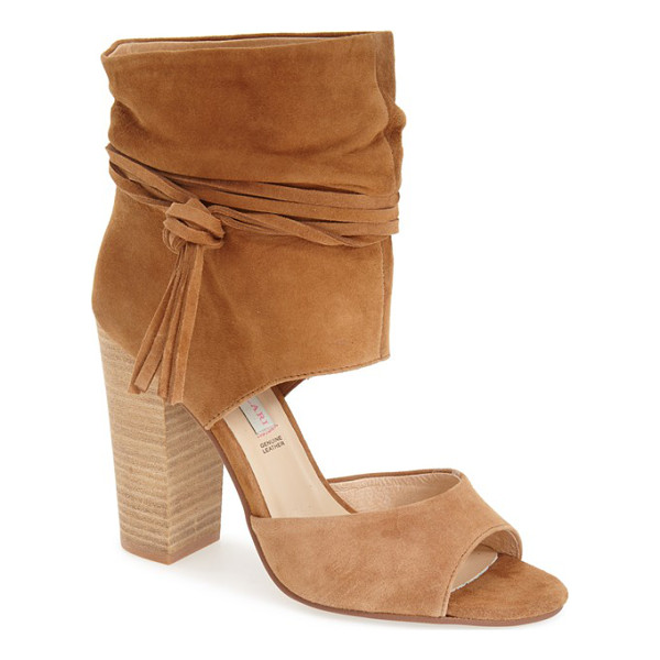 KRISTIN CAVALLARI leigh peep toe sandal - Wraparound ties knotted at one side accent the softly...