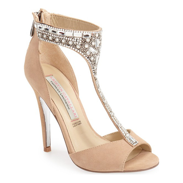 KRISTIN CAVALLARI 'lena' crystal t-strap sandal - A curved, slender T-strap covered in an opulent array of