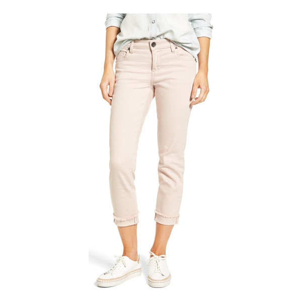 KUT FROM THE KLOTH amy stretch slim crop jeans - Frayed hems and turned-back cuffs add laid-back cool to...