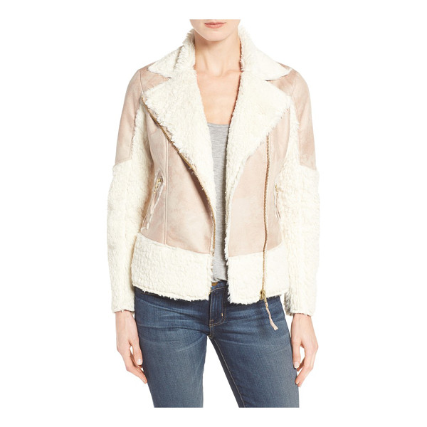 KUT FROM THE KLOTH baylee faux shearling jacket - Fluffy faux fur combines with distressed-looking faux...