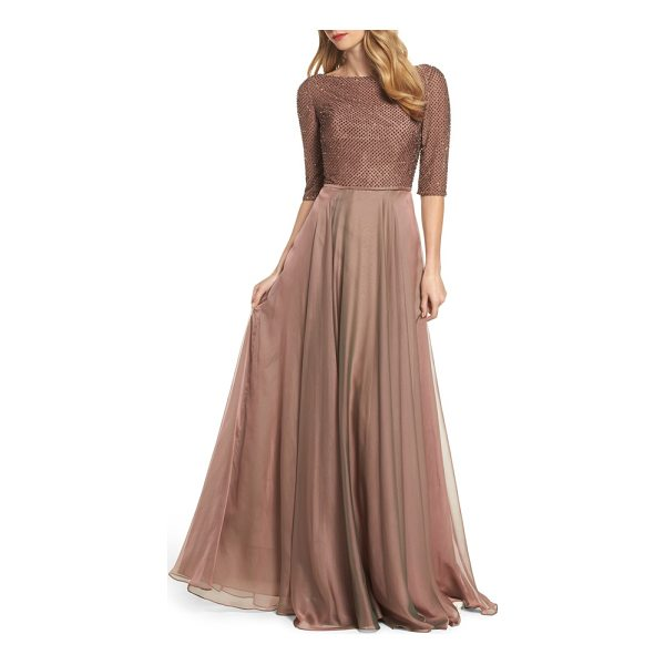 LA FEMME embellished bodice gown - A demure net-and-chiffon gown takes on scintillating...