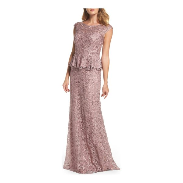 LA FEMME embellished lace peplum gown - Cobwebby lace dappled with crystal sparkle is shaped for a...