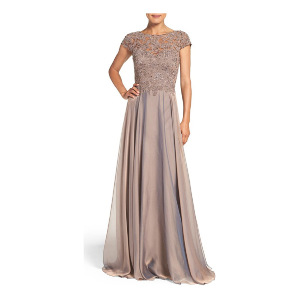 LA FEMME embellished lace & satin ballgown - Richly textured lace flecked with crystal jewels defines...