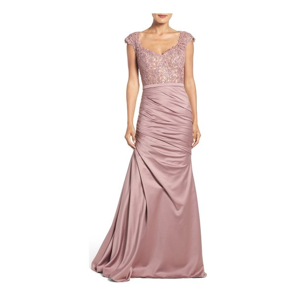 LA FEMME embellished lace & satin mermaid gown - Bring out your regal charm in this fetching, timeless gown...