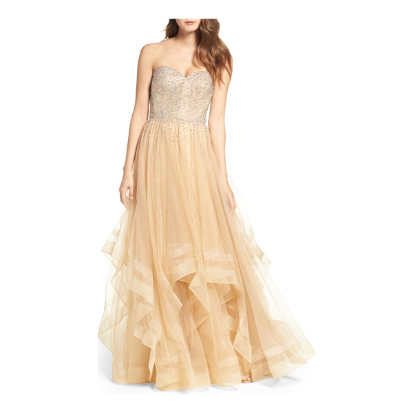 LA FEMME embellished strapless ballgown - A multitude of radiant crystals coats the sweetheart bodice...