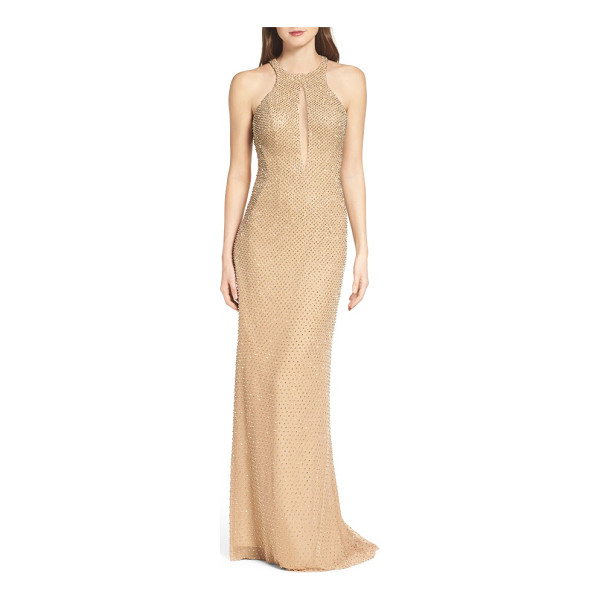 LA FEMME mesh gown - Golden beads glimmer throughout this slinky column gown cut...
