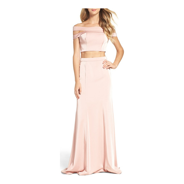 LA FEMME off the shoulder two-piece gown - Make it an evening to remember in a pretty-in-pink gown...