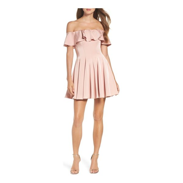 LA FEMME ruffle off the shoulder fit & flare dress - Stop the show with your lovely shoulders in this darted and...