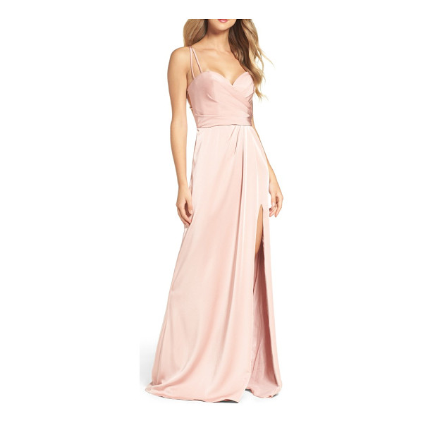 LA FEMME sweetheart gown - Leave them blushing in a pastel pink gown that shimmers...