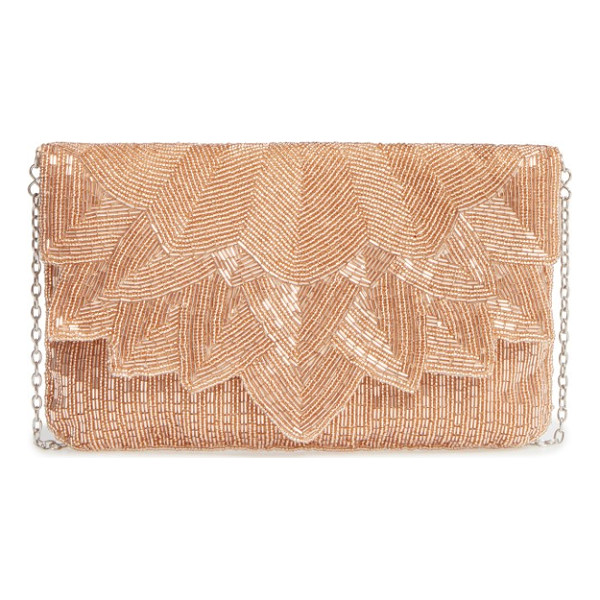 LA REGALE beaded petal flap clutch - Intricate beading underscores the vintage aesthetic of an