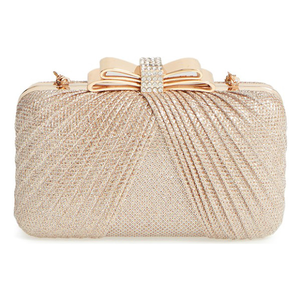 LA REGALE Metallic bow frame clutch - Pleated metallic netting and a pave crystal-embellished...