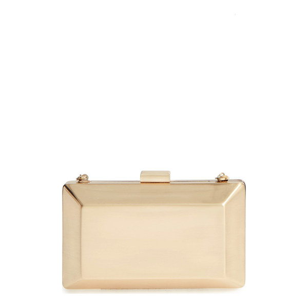 LA REGALE metallic box clutch - Go bold with gold and add a metallic box clutch to your...