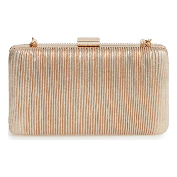 LA REGALE pleated box clutch - Slender metallic pleating brings shimmer and texture to a