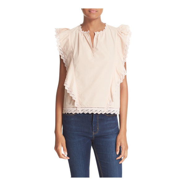 LA VIE BY REBECCA TAYLOR la vie by rebecca taylor sleeveless lace trim poplin top - Crisp cotton poplin brings cool comfort and light structure...