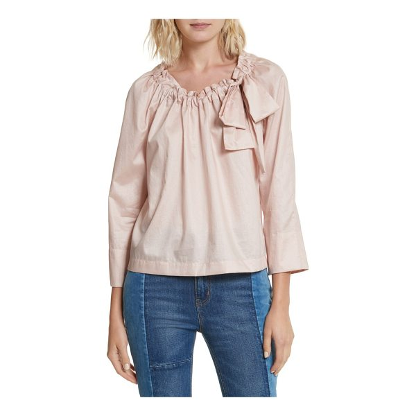 LA VIE BY REBECCA TAYLOR bow neck washed sateen top - Indulgently feminine and romantic, a billowy peasant top of...