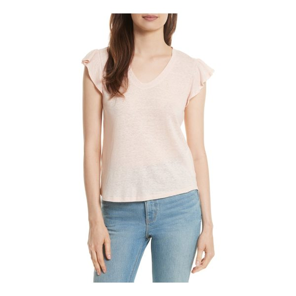 LA VIE BY REBECCA TAYLOR ruffle sleeve washed jersey top - A feminine upgrade from the usual tee, this V-neck style...