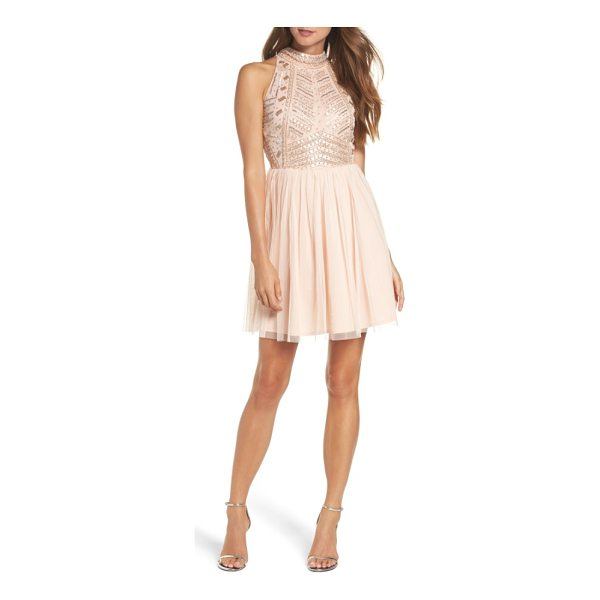 LACE & BEADS wren beaded skater dress - A dazzling geometric pattern of beads and sequins sets a...