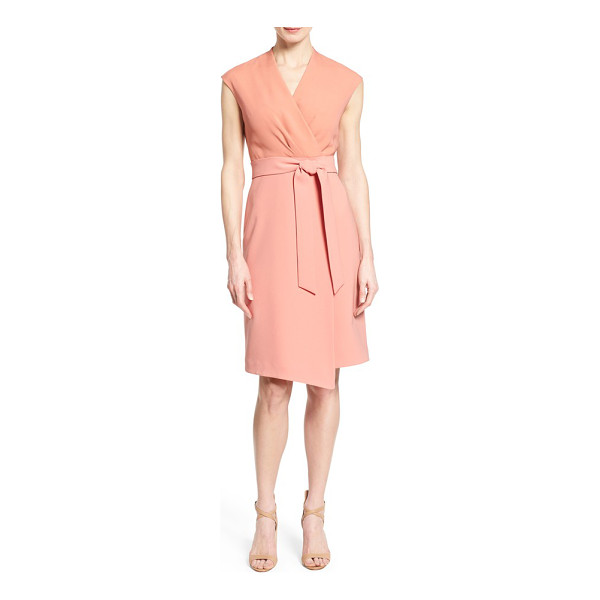 LAFAYETTE 148 NEW YORK grayson belted mixed media sheath dress - Color-blocked design and mixed-media styling combine for an...