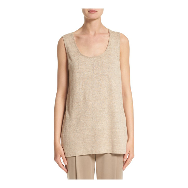 LAFAYETTE 148 NEW YORK linen scoop neck tank - Slender silvertone chains are woven into this beautifully...