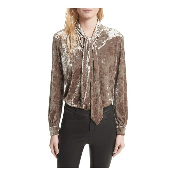 L'AGENCE gisele crushed velvet tie neck blouse - Lustrous crushed velvet, the must-have fabric for the...