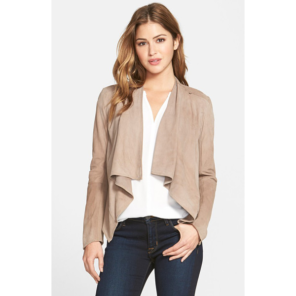 LAMARQUE drape front suede jacket - Deliciously soft suede lends lovely drape to an elegant,...