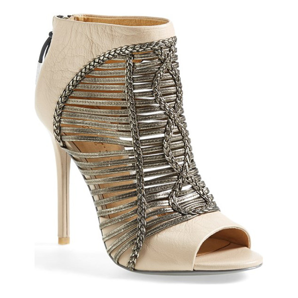 L.A.M.B. kacee peeptoe bootie - Shimmering metallic cage straps, curvy braided accents and...