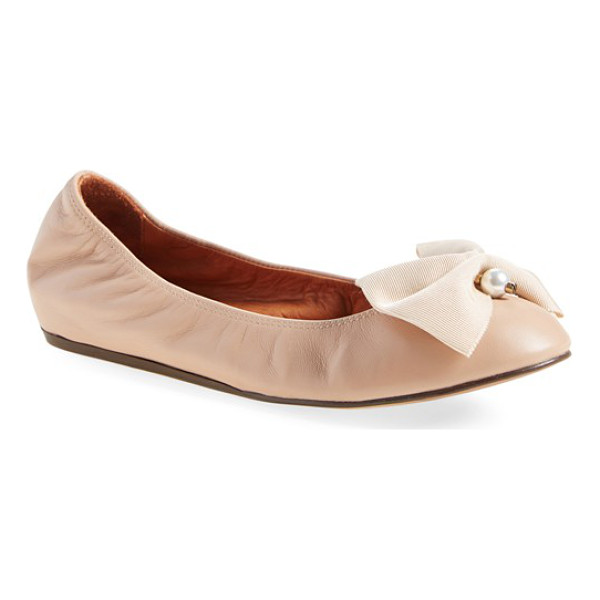 LANVIN bow ballerina leather flat - Already feminine and elegant, Lanvin's classic, round-toe...
