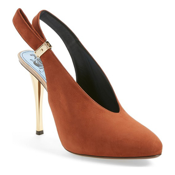 LANVIN suede slingback pump - A gleaming golden heel in a slim silhouette elegantly lifts...