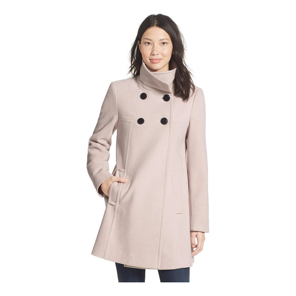 LARRY LEVINE a-line babydoll coat - A tall stand collar converts to a fold-over for a slightly...