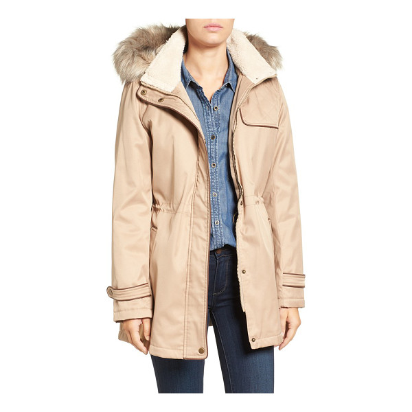 LARRY LEVINE faux shearling & faux fur trim water repellent parka with detachable hood - Warmed with fluffy faux shearling inside the stand collar...