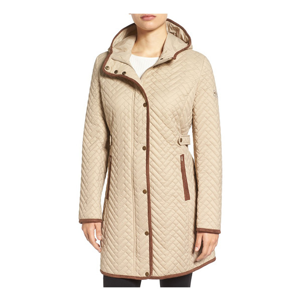 LARRY LEVINE quilted hooded coat with faux suede trim - Town meets country in this smart hooded coat, fitted with...