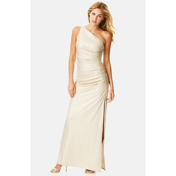 LAUNDRY BY SHELLI SEGAL beaded jacquard one-shoulder gown - Sparkling beads accent the ruched side of a head-turning...