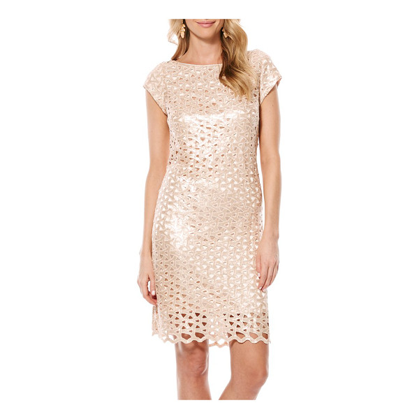 LAUNDRY BY SHELLI SEGAL sequin geo cutout dress - Intertwined cutouts add intriguing dimension to a sequined...