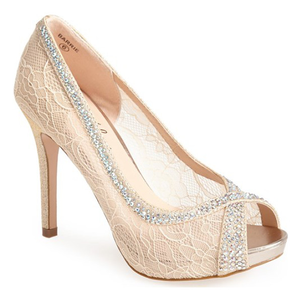 LAUREN LORRAINE barrie crystal embellished lace pump - An ultra-girly peep-toe pump gets prettied up in sheer lace...