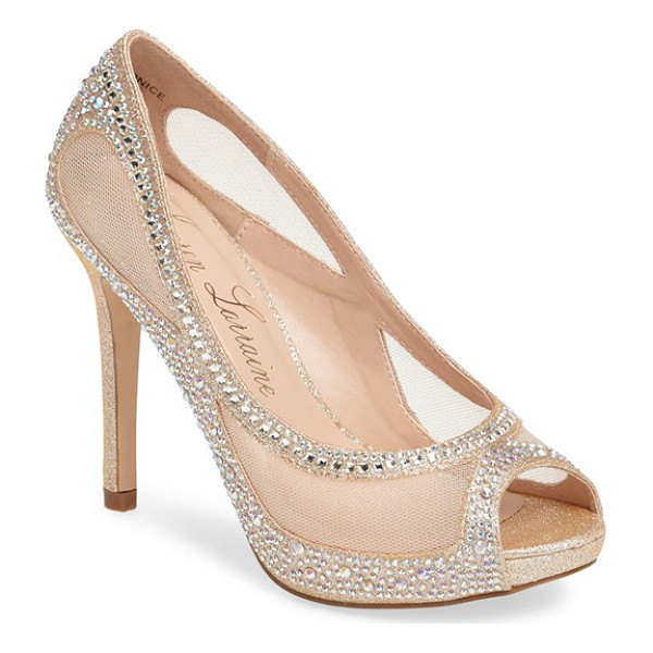 LAUREN LORRAINE bernice peep toe crystal embellished pump - Ribbons of sparkling crystals curl and dance on fields of...