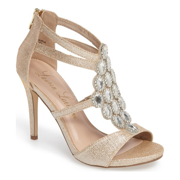 LAUREN LORRAINE crystal embellished strappy sandal - Faceted crystals set in a diamond shape sparkle and dance...