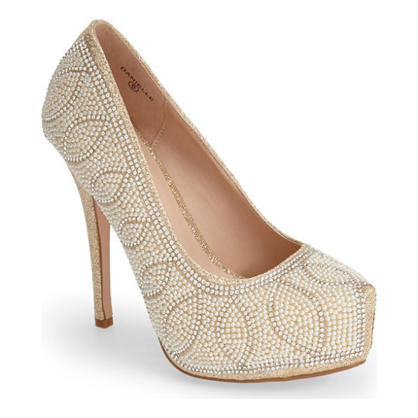 LAUREN LORRAINE danielle embellished platform pump - Pearly beads highlight the sparkling crystal swirls across...