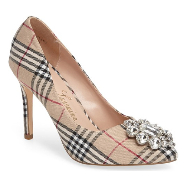 LAUREN LORRAINE giselle embellished plaid pump - A stunning crystal brooch sparkles brightly from the...