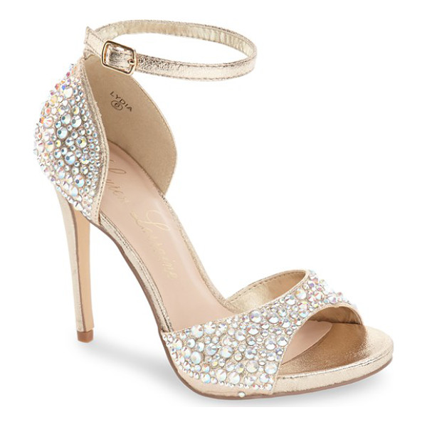 LAUREN LORRAINE 'lydia' crystal ankle strap sandal - Steal the scene at any event in this striking stiletto...