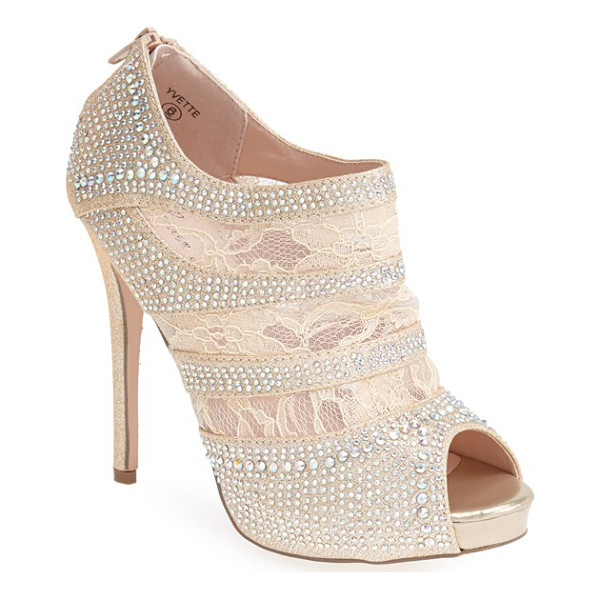 LAUREN LORRAINE yvette lace platform bootie - Intricate, sparkling rhinestones and airy lace style an...