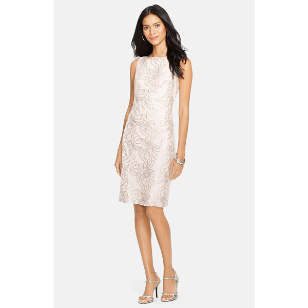 LAUREN RALPH LAUREN bateau neck floral sequin sheath dress - Delicate embroidery and icy sequins trace a garden of...